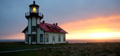 View of the Point Cabrillo Lighthouse at sunset