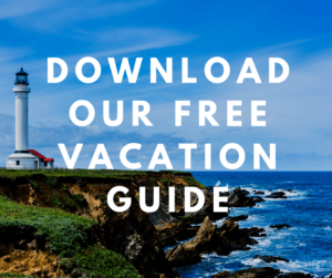 view of the Mendocino Lighthouse with overlaying text saying download our free vacation guide