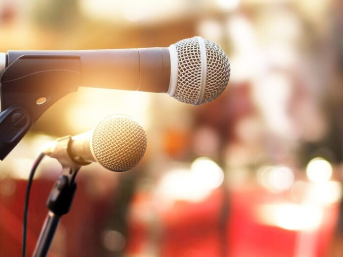 Microphone on concert stage background - Mendocino Music Festival