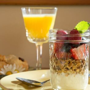 Fruit and yogurt parfait at Sea Rock Bed & Breakfast Inn