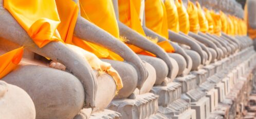 Row of Buddha statues at City of 10,000 Buddhas