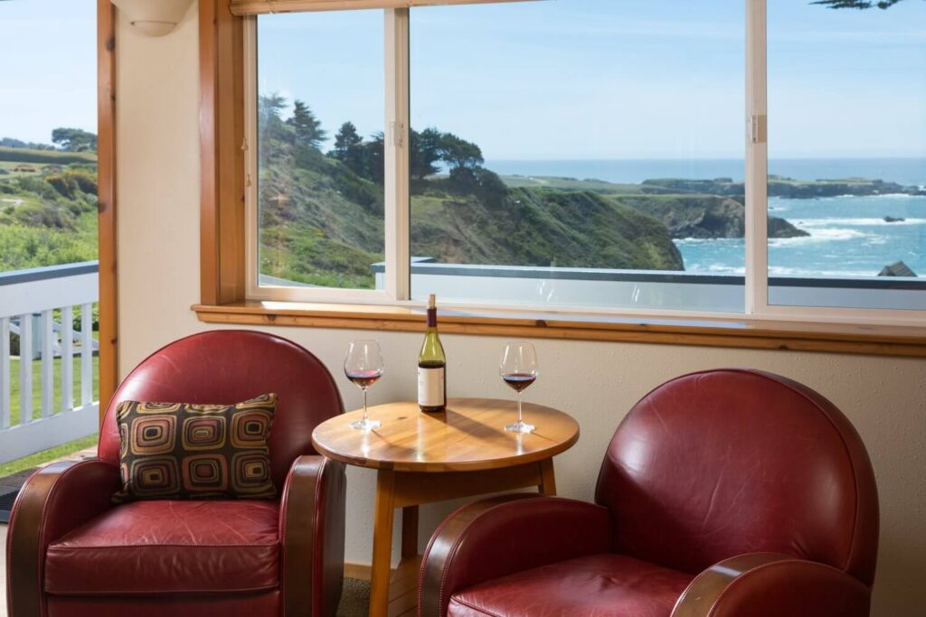 view of the ocean with a bottle of wine | Mendocino in January