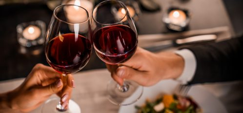 Romantic Valentine's Getaway in Northern California | Couples toasting with wine glasses